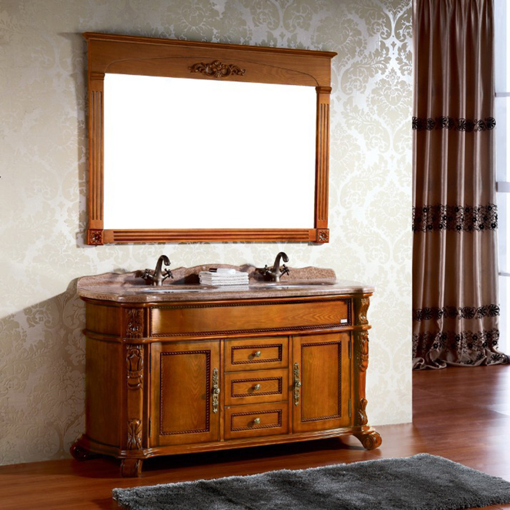 European style discounted free standing decorative oak bathroom storage cabinets