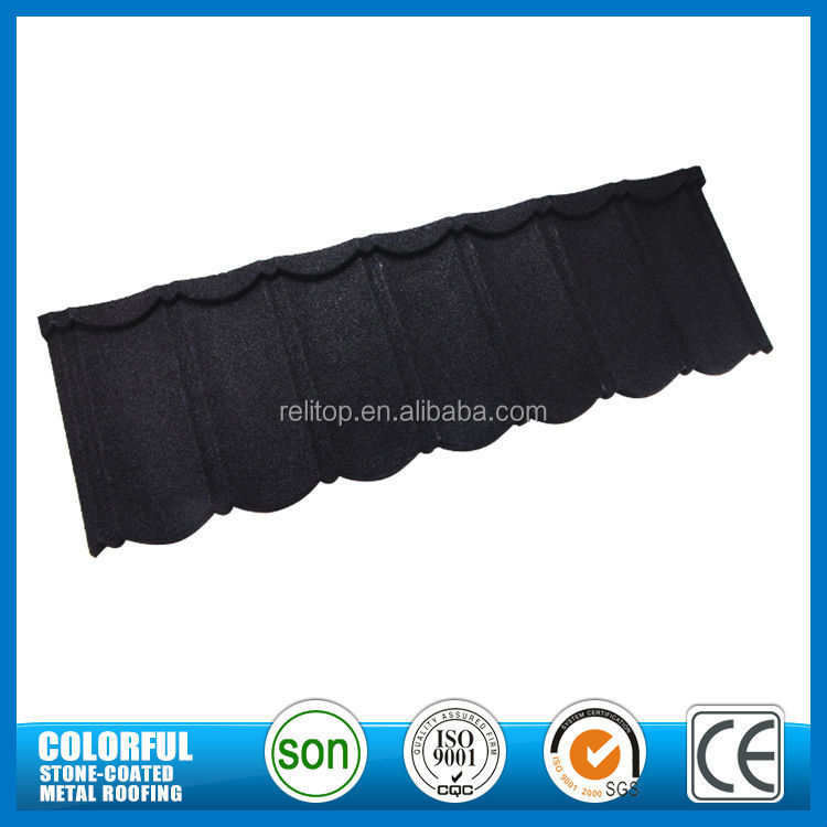 Stone coat high quality anti-corrosion spanish black color roofing