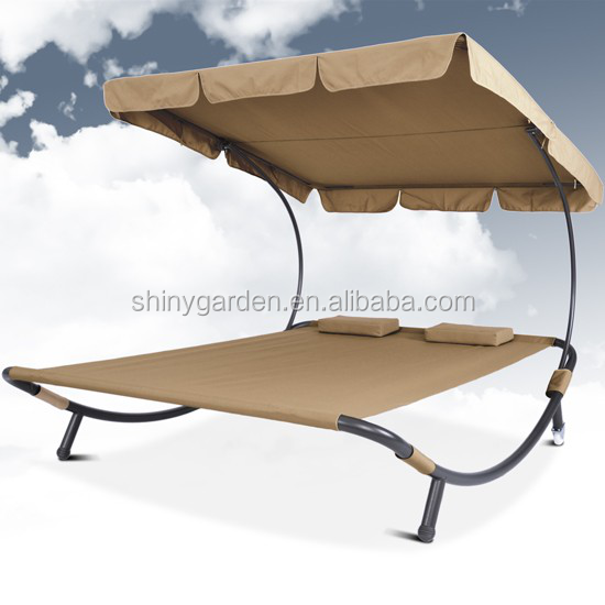 Double Size Outdoor Sun Bed Lounger with Canopy
