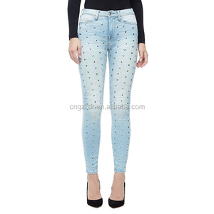 heart hardware on front and raw hem burmuda blue women stretch jeans skinny legging wholesale China