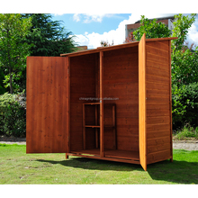 Movable Two Door Wooden Tool House For Garden