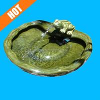 Ceramic Frog Solar Outdoor Bird Bath Fountain