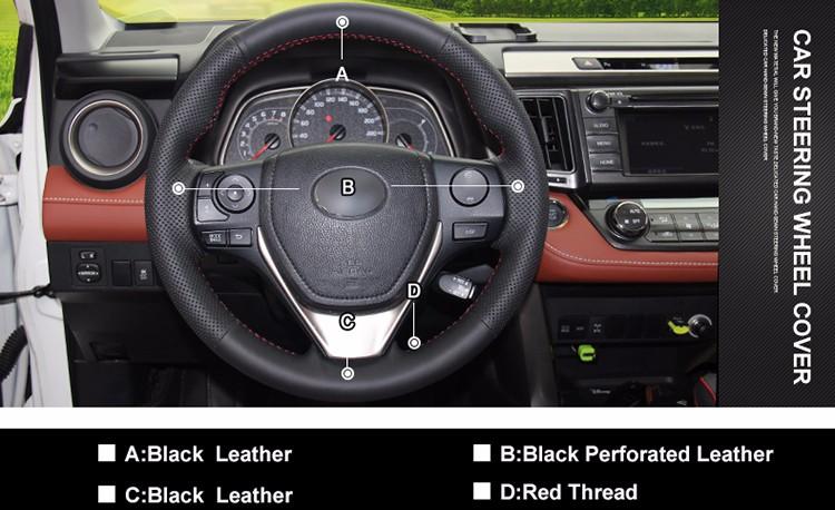 Leather Steering Wheel Cover Wrap For Toyota Rav4 2017 2018 Corolla 2019