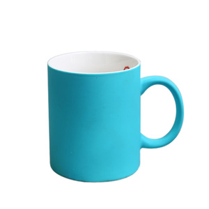 High quality bright colorful New bone china matte soft touch coffee mug rubber coated mug for laser engrave