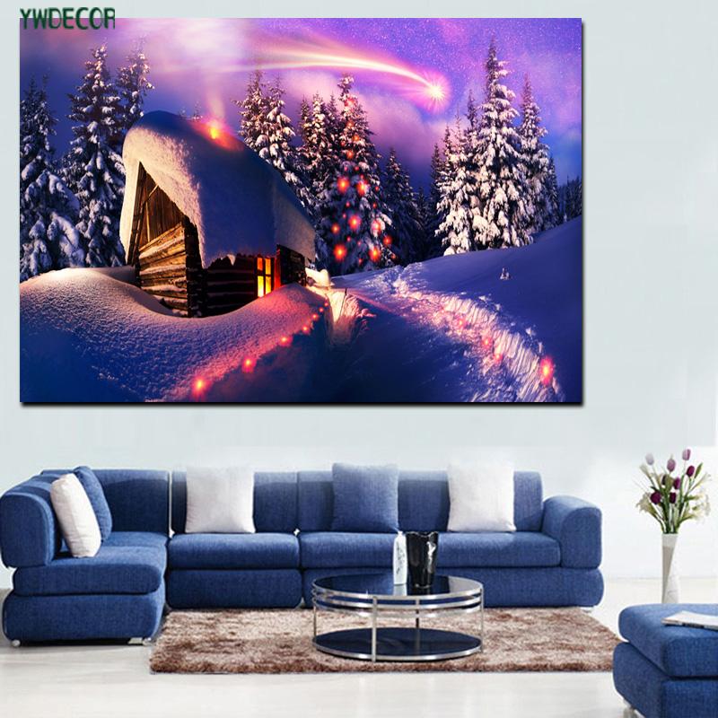 Santa's House Theme Wall Painting Art Printed Canvas To Paint With LED Light For Christmas Home Decoration