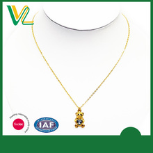Customized Fashionable Zinc Alloy Gold Bear crystal Jewelry Necklaces Pendant for women