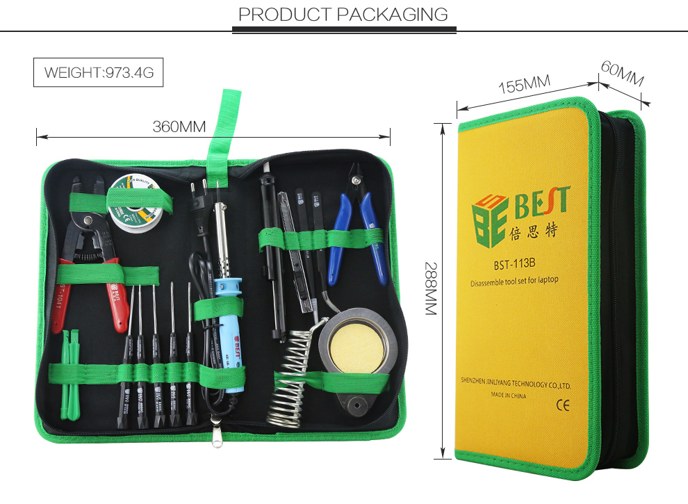 BEST 113B Multipurpose Computer Repairing Tool Set Soldering Iron Kit Electronics