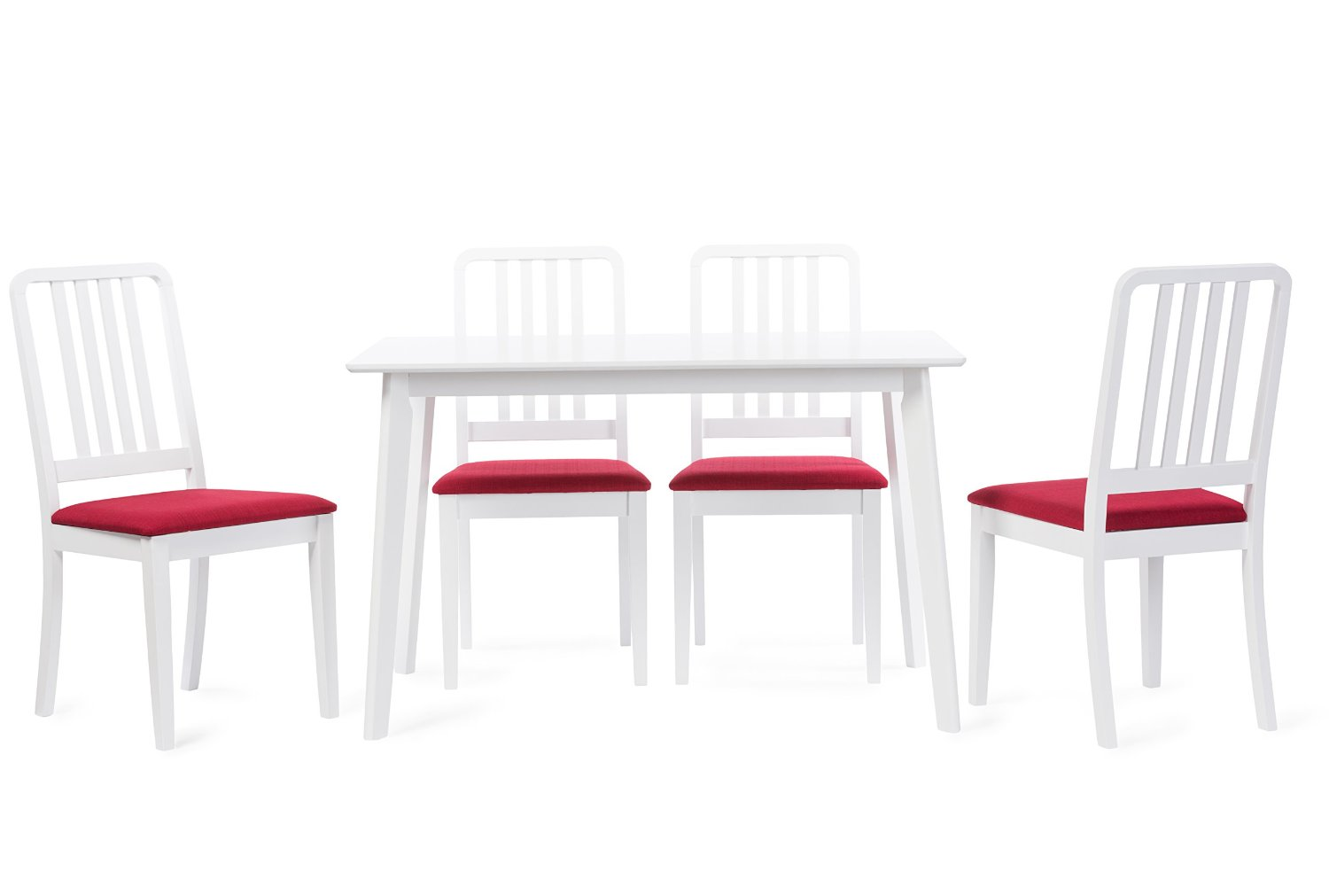 Baxton Studio Jasmine Mid-Century Modern 5 Piece White Wood Dining Set with Red Upholstered Dining Chair