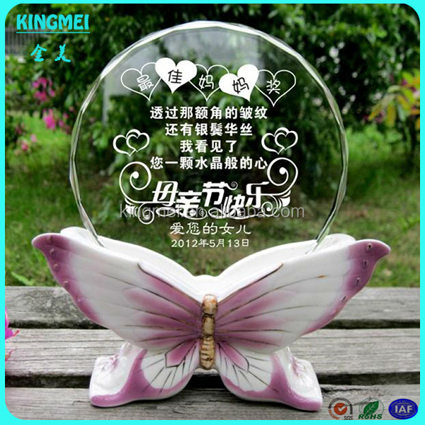 Clear acrylic award ,customized acrylic trophy with butterfly base