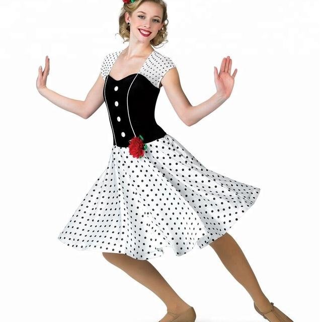 high quality white and black dot classic dance dress dance costume stage wear ballroom dresses for girls