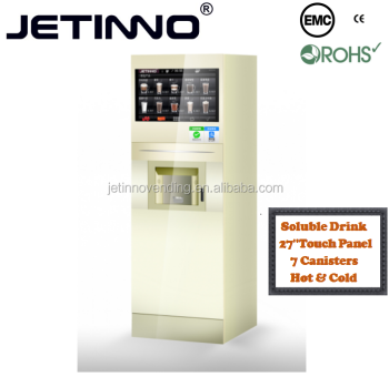 Hot&Cold Instant Drink Vending Machine with 27 inch Touch Panel