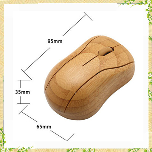 New design bamboo wireless mouse without battery