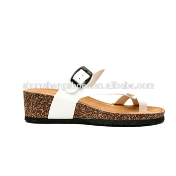548aedc85314 new come china cork shoes ladies woden beach slipper women flat white  buckle newest girl sandal