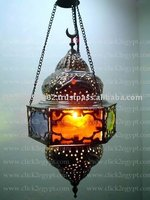 Hanging Brass Lamp With Colored Stained Glass