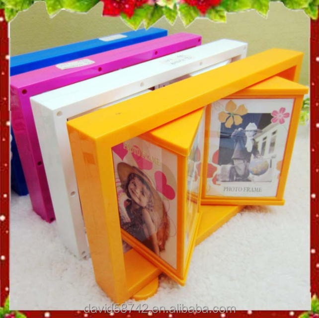 "Hot Sale Plastic Irregular Shape Rotational Mutiple Faced 5""3"" Baby Photo Frame For Decorative Household Table Layout"