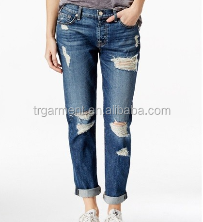 fashion design 100% cotton stone washed blue jeans women ripped holes jeans