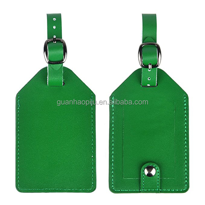 Green Real Leather Cruise Ship Travel Luggage Tags With Information Card