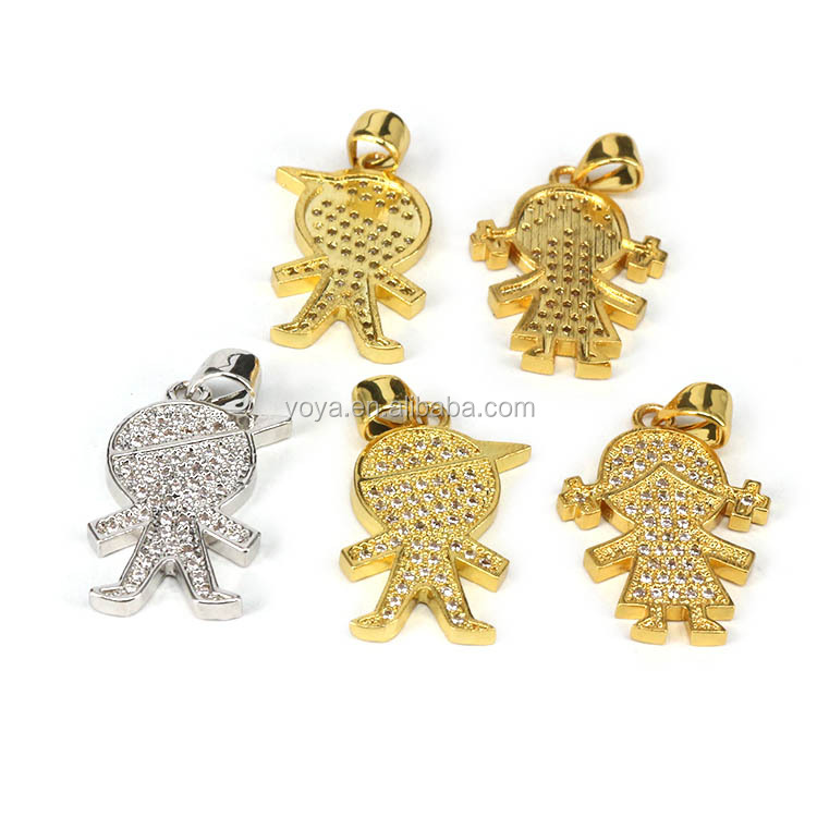 CZ7290 New CZ Micro Pave Little Girl Boy Children Kids Charm Pendants