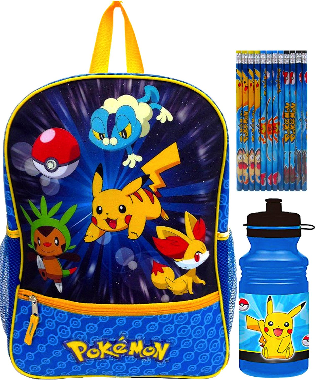 bdeec7620932 Get Quotations · Pokemon Children s School Backpack with Pokemon Water  Bottle and Pokemon Pencils Perfect Back to School Gift