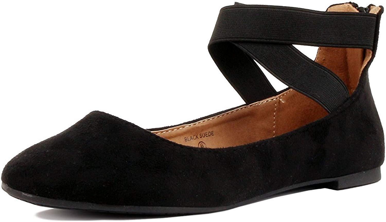 17905f657d ShoBeautiful Women's Classic Ballerina Flats with Elastic Crossing Ankle  Straps Ballet Flat Yoga Flat Shoes Slip