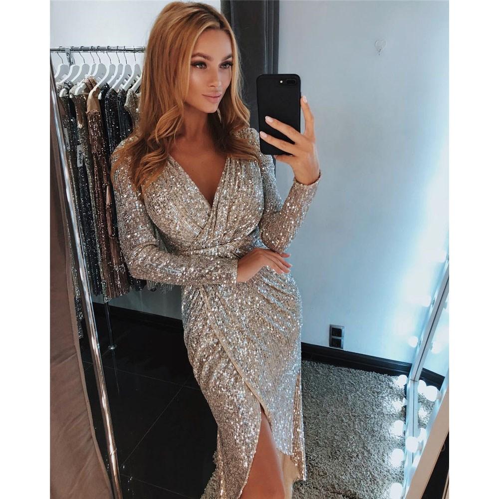 2019 Women Sparkly Bodycon Night Clubwear Split Sexy Long Sleeve Midi Party Sheath Sequin Dress фото