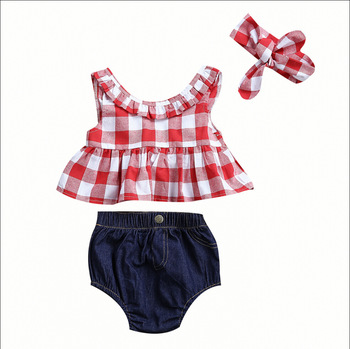 S30955W 2019 Summer baby girl clothing set Plaid Skirted T-shirt Tops+Denim Short Headband baby girl clothes Newborn Outfits