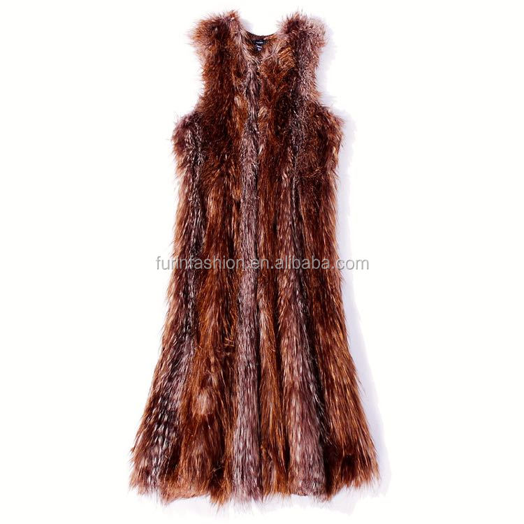 2017/2018 New Style Women Dark Brown Knitted Rabbit Fur Long Vest with Sleeveless