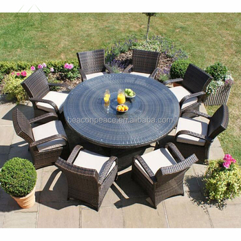 8 Seater Garden Banquet Round Table And
