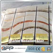 Natural Stone Water Jet Marble Medallion Stairs for High End Commercial Building & Hall Steps Risers