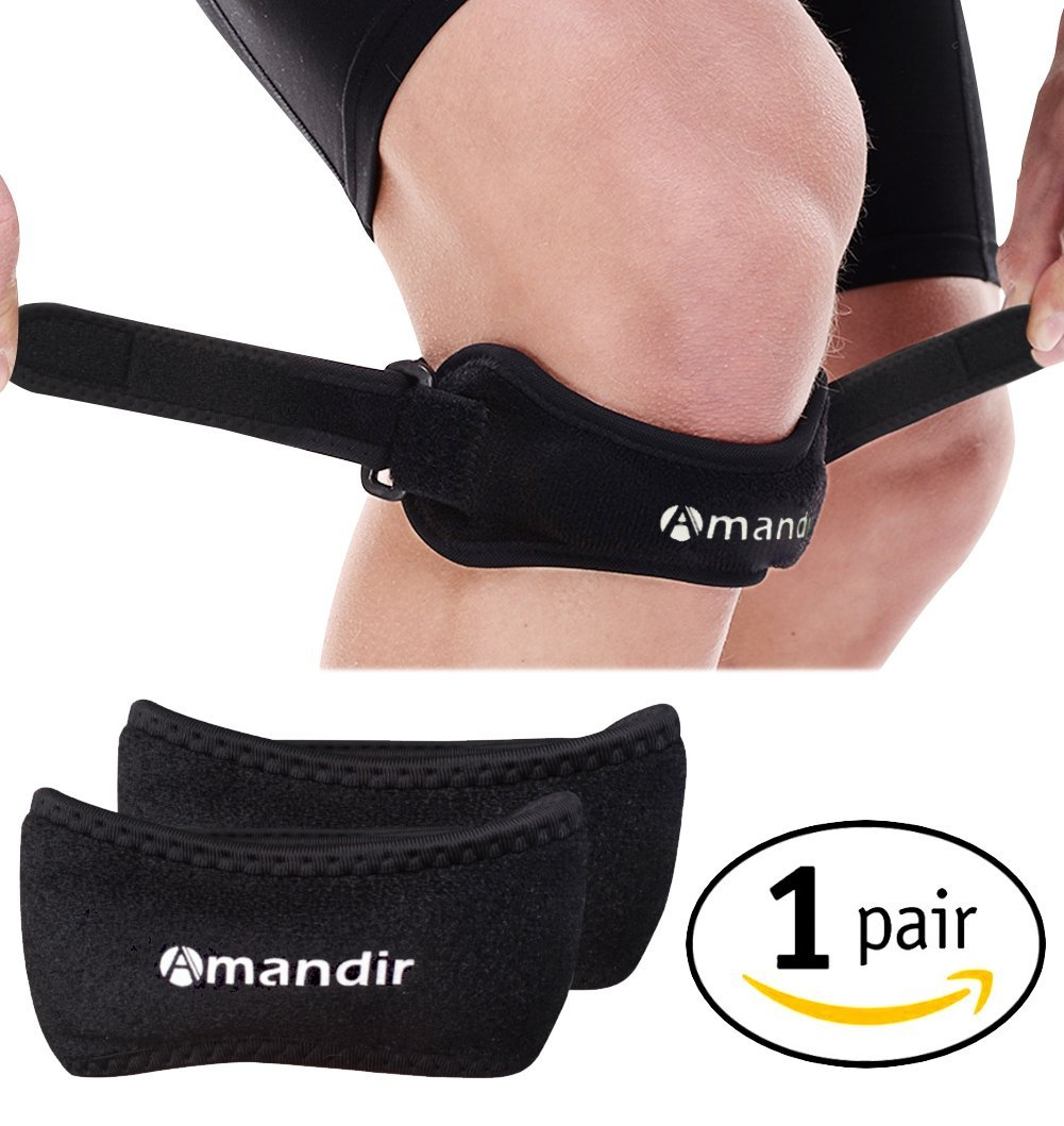 0b7ad7864a Get Quotations · Amandir 2 Pack Non-slip Patella Knee Brace Support Strap  Band Adjustable Patellar Strap Knee