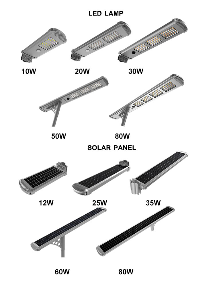 High luminaires 60w solar outdoor street lighting pole IP66