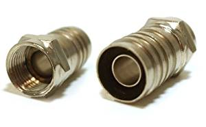 Single-Piece Construction Coax F-Type Plug Crimp-On RG6 Long Barrel Quad Shield