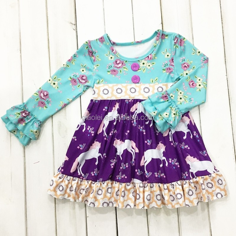 persnickety smocked long sleeve ruffle blue flower unicorn pattern clothing children dresses