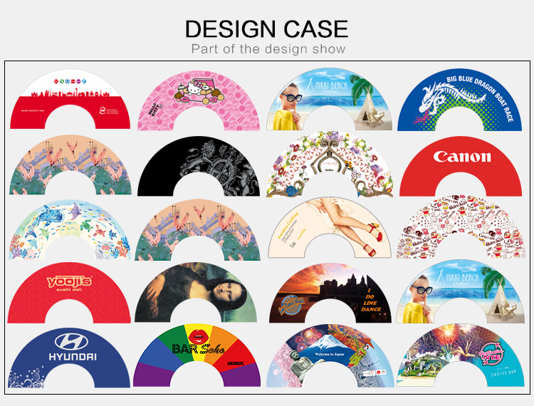 Custom made advertising plastic fabric folding hand fans cheap price