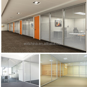 Aluminum Frame Material Single And Double Office Wall Partition