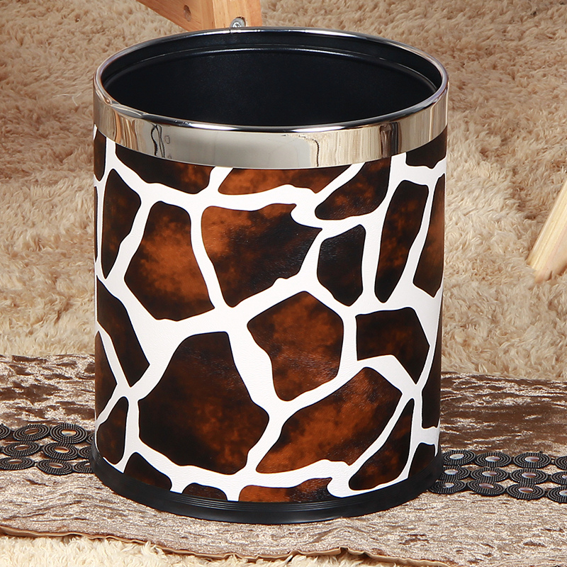 Custom decorative office leather waste bin trash kitchen waste bin