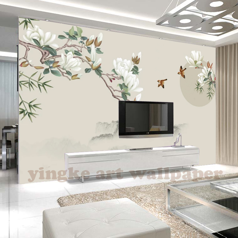 Custom 3d Wallpaper Chinese Style Bird Living Room Wall Paper 3d Wall  Murals Wallpaper Home Decor Painting Mangnolia Photo Mural - Buy Simple  Scenery ...