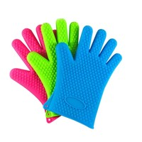 Microwave oven use heat resistant bbq gloves silicone kitchen silicone insulated gloves