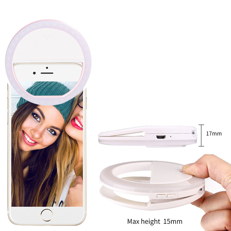 Free shipping 40 white and warm led clip on smart phone selfie ring light, White;pink;green