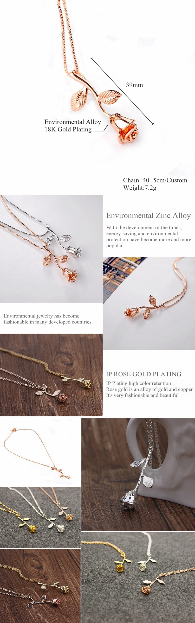 2019 New Arrival Fashion Jewelry Valentine Gift 18k Gold Plating Pendant Rose Necklace