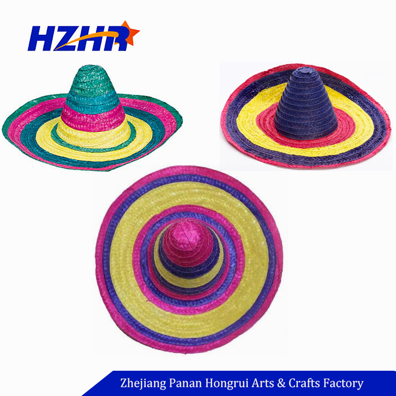 877290d32d7 Mexican Fancy Dress Accessories Women Girl Rainbow Striped Sun Straw ...