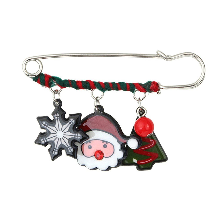 JoJo & Lin Lovely Christmas Tree and Santa Claus Brooch Pin Christmas Jewelry Gifts Xmas