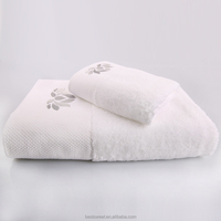 Factory wholesale 100% cotton white embroided towels bath set luxury hotel