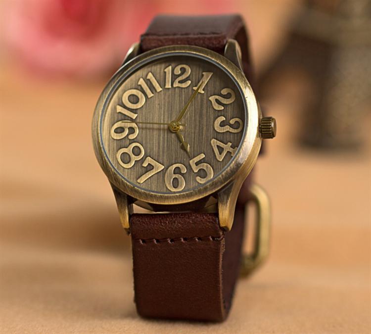 บิ๊กเบอร์หน้าปัดโบราณvogue u nisexนาฬิกาที่มีหลายสีหนังpuวง