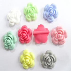 Wholesale Factory Price FDA Silicone loose teeth beads Silicone Rose Flower Silicone beads teething