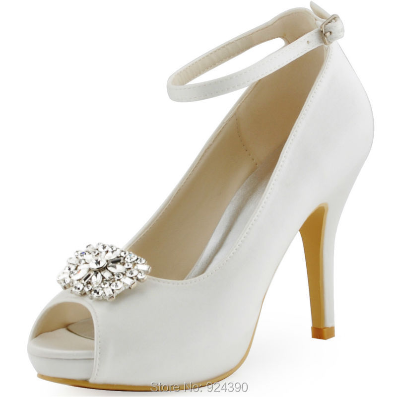 White Ivory ElegantPark Women Stiletto Heel Pumps Satin Rhinestones Buckle Bridal  Wedding Party Shoes HP1545I