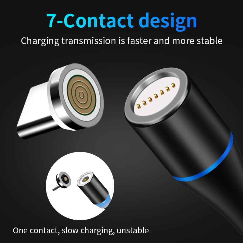 Ponsel Kabel Usb Charger 1M 3 In 1 Data Pengisi Daya USB LED Logam Micro USB Fungsi Kabel magnetic Ponsel Charger