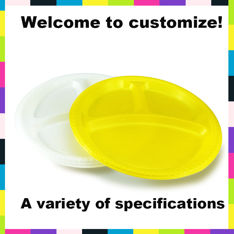 3-compartment disposable plastic plate with divider