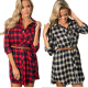 Feelingirl New Fashion Two Color Plaid Long Sleeve Waist Belt Women Long Dress Shirt