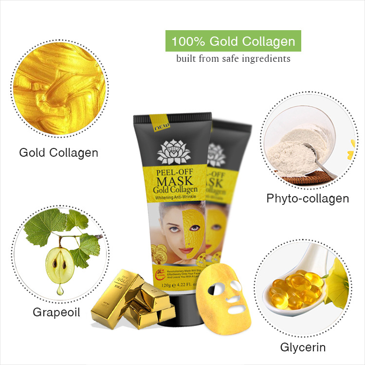 24 k Anti Rughe Idratante Peel Off Facial Oro Maschera Al Collagene